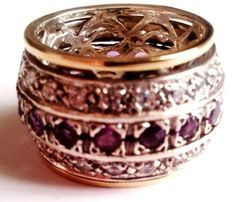 Spinner Ring, for woman, Spinning rings silver gold amethysts / garnets / cz zircons / turquoises - Bluenoemi - My Sterling Silver Jewelry - 2