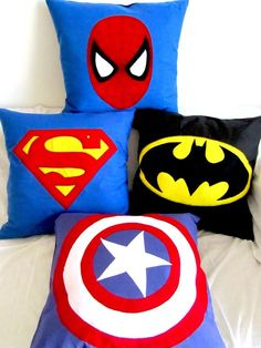 our quad-pod for halloween!, Superhero pillows - Just ordered these for Brayson's superhero bedroom. Soo cute I wanted to share! Kids Bedroom, Bedroom Decor, Bedroom Ideas, Trendy Bedroom, Superhero Room, Monster Party, Cushions, Pillows, Boy Room
