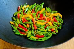 Recipe for Stir Fried Turkey (or chicken) with Sugar Snap Peas and Peppers  (and Tips for Chinese Cooking) [from Kalyn's Kitchen]
