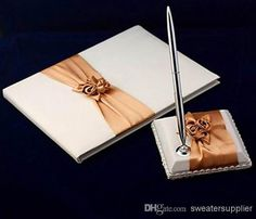 New Arrival! Satin Blush Ivory Wedding Guest Book And Pen Set Wedding Accessory Wedding Supplies $30.84 | DHgate.com