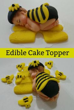 Wow how gorgeous is this! Found on Etsy, an edible cake topper for a bee baby shower, first birthday. #Etsy #caketopper #bee #babyshower #babyshowercake #bees #cake #cakes #affiliate