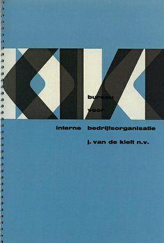 1956 brochure cover printed letterpress for Van de Kieft consultants in Amersterdam, designed by Wim Crouwel