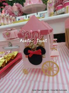 Carrinho de pipoca Minnie rosa