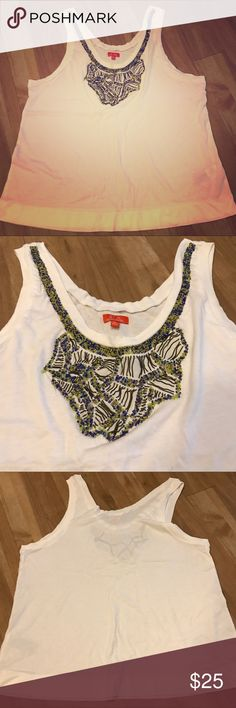 Madewell White Tank w/ Neck Embellishment Sz L White cotton tank with creative blue, neon green and metallic black beading design around the neckline. True to size, fits loose. Madewell Tops Tank Tops