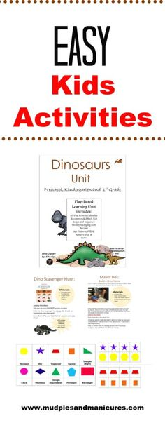Be ready for days of fun on a moments notice with these easy dinosaur activities for kids! Homeschool Books, Homeschool Kindergarten, Homeschool Curriculum, Homeschooling Statistics, Online Homeschooling, Kindergarten Schedule, Dinosaur Activities, Learning Activities, Activities For Kids