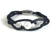 Black leather bracelet with pearl and rhinestones