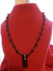 Black Agate Necklace with silver accents by cyndeestrinkets, $15.00
