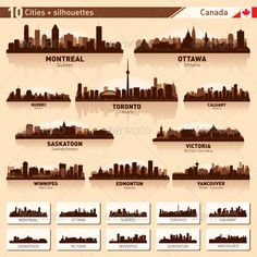 City Skyline Set - Canada Vector Silhouettes - Buildings Objects