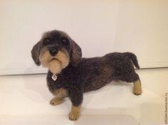 Купить Такса жесткошерстная - такса, собака из шерсти, авторская ручная работа, войлочная игрушка