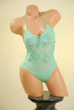Crochet Bikini, swimsuit, top, beachwear, acrylic stretch yarn on order on Etsy, $85.00