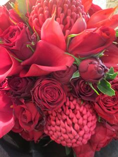 Red collection of Waratah, Call Lily and Cluster Rose