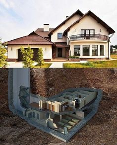 Luxury house design Luxury house design in 2020 Underground House Plans, Underground Shelter, Underground Homes, Future House, My House, Cliff House, Casa Bunker, Bunker House, Safe Room