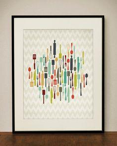 Retro Kitchen Utensils 11x14 Art Print. $23.00, via Etsy.