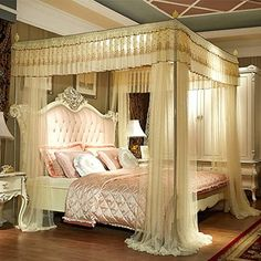 Elegant Bed Corner Rail Canopy Net,Pastoral Lace Bed Drapes,Luxury Curtain Netting for Double to King Size Beds,Finest Holes-f Curtain Over Bed, Canopy Bed Curtains, Canopy Bed Frame, Luxury Curtains, Luxury Bedding, Modern Bedding, Italian Bedroom Furniture, Bedroom Furniture Sets, Bedroom Sets