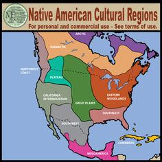 Maps: North America Native American Cultural Regions {Messare Clips and Design} Native American Map, American Indians, American Symbols, American Women, American Art, Historical Maps, History Facts, History Timeline, History Memes