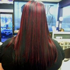 Red&black hair :) Black Hair With Red Highlights, Red Black, Red Hair, Hair Makeup, Crown, Hairstyles, Long Hair Styles, My Style, Pretty