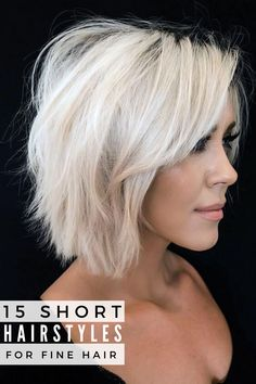 13 Most Gorgeous Short Hairstyles For Your Fine Hair You Must Wear! - Planning for a short hairstyle? If you have beautiful hair, don't late to see this list of Short Hairstyles for Fine Hair and select your option if you want the best one. Short Fine Hair Cuts, Bob Hairstyles For Fine Hair, Haircut For Thick Hair, Short Hair Styles Easy, Short Hair With Layers, Elegant Hairstyles, Short Hairstyles For Women, Curly Short, Glamorous Hair