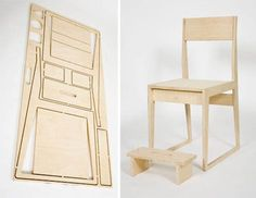 Furniture Flatpack Table and Chair from Studio Civico is part of Plywood furniture Plans - When I was an architecture student and building models of my projects, I learned very quickly to maximize in order to economize; the challenge always was t Plywood Furniture, Plywood Chair, Entryway Furniture, Modular Furniture, Furniture Deals, Recycled Furniture, Kids Furniture, Modern Furniture, Furniture Design