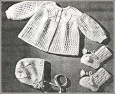 MODÈLES POUR BÉBÉS ENSEMBLE DE BAPTÊME POUR BÉBÉS / TAILLE 3 MOIS Knitting For Kids, Baby Knitting Patterns, Baby Patterns, Tricot Baby, Cardigan Bebe, Baby Layette, Knitted Baby Clothes, Baby Socks, Diy Crochet