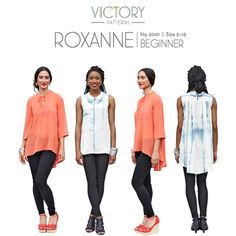 Victory Patterns Roxanne Blouse Sewing Pattern - Roxanne features a single breast pocket and a back yoke that releases a cluster of deep pleats, which add fullness to the body. The asymmetrical hemline falls just below the hips at the front and takes a dramatic plunge at the back. Two style versions allow you to choose between three quarter length sleeves or a sleeveless blouse. Two neckline options offer a simple front opening with ties that form a little bow, or get a little edgy with a…