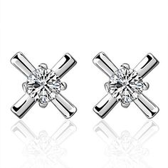 NYKKOLA New Fashion Jewellery 925 Silver Crystal Cross Stud Earrings *** Details can be found by clicking on the image.