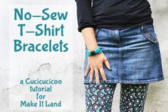 Got some old tees? Turn them into these super easy no-sew t-shirt bracelets! The tutorial shows you how to in less than two minutes! www.cucicucicoo.com