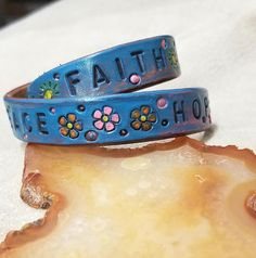 Wristwrap Bracelet, Leather Cuff, Peace Jewelry,  Boho Hippie, Hope, Faith, Distressed Style, Adjustable Snaps, Stamped, Colorful, Uplifting