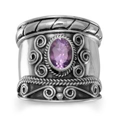 Sterling Silver Oxidized Bali Inspried Amethyst Ring