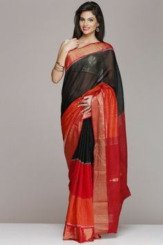Black & Red Pochampally Silk Cotton Saree With Gold Border And Maroon Pallu