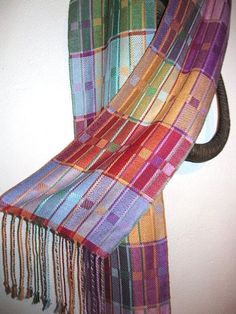 Handwoven Silk Scarf Colorful Twill Blocks