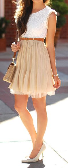 Pleated Lace Tulle Dress <3