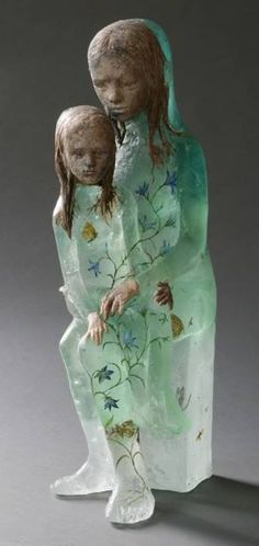 "Made by: Christina Bothwell , ""Waiting for the World""  -  cast glass, pit fired clay, oil paints. Made in: 2013"