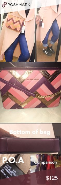 SOLD OUT Michael Kors Large Patchwork Bag ✅ACCEPTING $105 ELSEWHERE🚫NO LOWEST ON PM🚫TRADES. Perfect for summer, can be worn as Crossbody or shoulder bag.  Popular colors for summer as well. Biggest size in the jet set east west family. Bag is so gorgeous in person. Questions welcomed. Michael Kors Bags Crossbody Bags