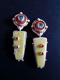 Earrings - Yellow Serpentine