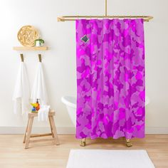 'Pink Camo design' Shower Curtain by MidnightBrain Camo Designs, Pink Camouflage, Flower Patterns, Shower Curtains, Flowers, Printed, Awesome, People, Products