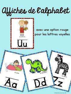 Affiches de l'alphabet - option rouge pour les lettres voyelles + 2 images pour les lettres c et g. Cartes éclairs avec les mêmes images incluses. $