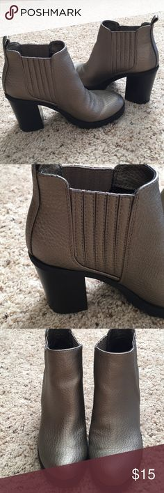 Size 6 ankle boots Faux leather shiny goldish in color.  3 inch heel.  Worn once Sam & Libby Shoes Ankle Boots & Booties