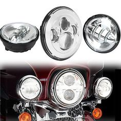 """Motorcycle 7"""" LED Projector Headlight Passing Lights For Harley Davidson Touring"""