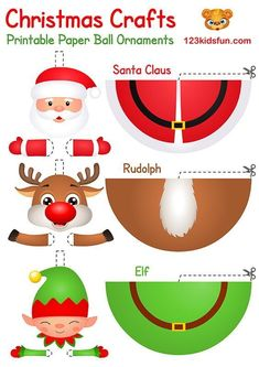 In our free Christmas Printable, you will find coloring pages, christmas cards, paper ball ornaments, christmas games and gift tags. Printable Christmas Ornaments, Christmas Decorations For Kids, Christmas Activities For Kids, Free Christmas Printables, Printable Crafts, Free Printables, Santa Crafts, Christmas Paper Crafts, Christmas Fun