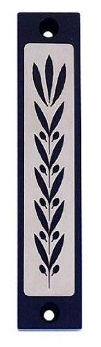 Black Wheat Imprinted Mezuzah with Leaf Shin (10.2cm) by World of Judaica. $60.00. Mix the traditional symbol of wheat with a sleek, modern style for an attractive and delightful touch to the Jewish doorpost. Bring tradition to the here and now! Wheat has been mentioned in many of our holy texts, while mezuzot are an age-old practice. Such an elegant combination of traditional items, this mezuzah has a contemporary touch. Its clean lines, sleek aluminum material creates ...