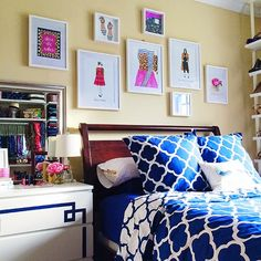 Bedroom Gallery Wall - PB Teen bedding, Preppy Printshop Prints (Etsy), and Ikea frames and dresser