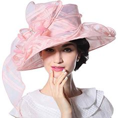 c8bb039a2a6 June s Young Women Hat Organza Sun Hat for Kentucky Derby Wide Brim Review  Pink Hat
