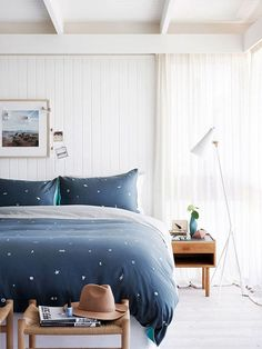 Dark blue details in the bedroom | Image by Eve Wilson via The Design Files