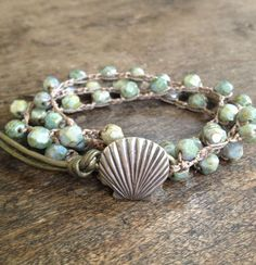 Seashell Crochet Multi Wrap Surfer Girl Bracelet