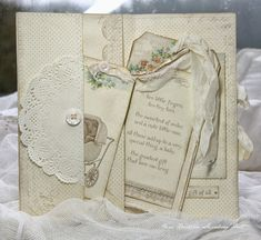 """Great card design.. try this concept: 5 1/2"""" high by 12"""" wide, border punch left side, foldd at (from the right). 4 1/4"""", 8 1/2"""". fold back punched edge, use ds tape to create pocket. Anne's paper fun: Sweet Baby....Pion Design"""