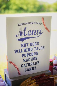 16 x 20 Baseball Party Concession Stand Menu Printable - Customized 16 x 20 Baseball Party Concession Stand Menu Printable - Customized <br> Baseball First Birthday, Sports Birthday, 1st Boy Birthday, First Birthday Parties, Birthday Party Themes, Birthday Ideas, Theme Parties, Nachos, Leaving Home