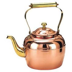 Copper-finished stainless steel tea kettle with brass handle and spout.  Product: Tea kettleConstruction Material: Stainless steelColor: Copper and brassFeatures:  Suitable for gas and electric stoves2.5 Quart capacity Dimensions: 9.75 H x 5.5 W x 9.5 D
