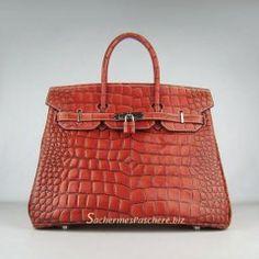a21ee8df54 Sacs Hermès Pas Cher Birkin 35cm Crocodile Veins Cuir Sac Foncé Orange 6089  Hermes Bags,