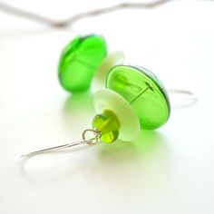 Mixed Greens Glass Earrings by bstrung on Etsy, $25.00