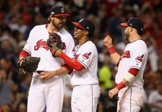Teammates congratulate Cleveland Indians reliever Andrew Miller as he is removed in the 7th inning after a fine performance in the ALDS  playoff game one between the Cleveland Indians and the Boston Red Sox played in Cleveland on Thursday, Oct. 6, 2016. Indians won game 1 of ALDS against the Red Sox  5-4 (Thomas Ondrey/The Plain Dealer)